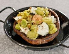 Μανιτάρια πορτομπέλο γεμιστά με φέτα και πράσο - Images